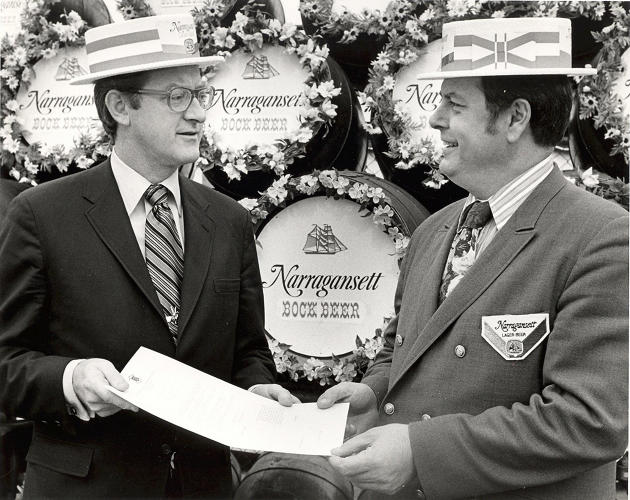 "<p>The fellow on the left is J. Joseph Garrahy, who would go on to become Rhode Island's governor in the late '70s and '80s. Before that, however, he was a top salesman for Narragansett in the '50s and '60s. ""Politics and beer were deeply connected,"" asserts Hellendrung, adding that ""legend has it that Narragansett put him into the governor's seat. He met so many people as a salesman. You think of a politician shaking hands and kissing babies. Selling beer is the same, absent the kissing babies.""</p>"