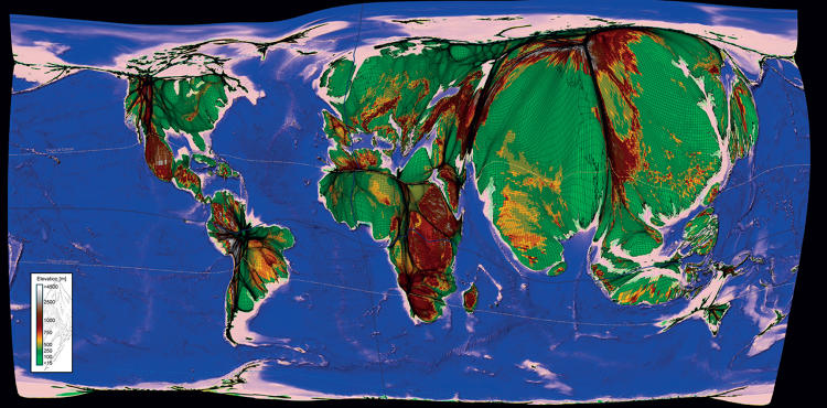 <p>Benjamin D Hennig, earth scientist, <em>A New World Population Cartogram with Topography</em>, 2010</p>