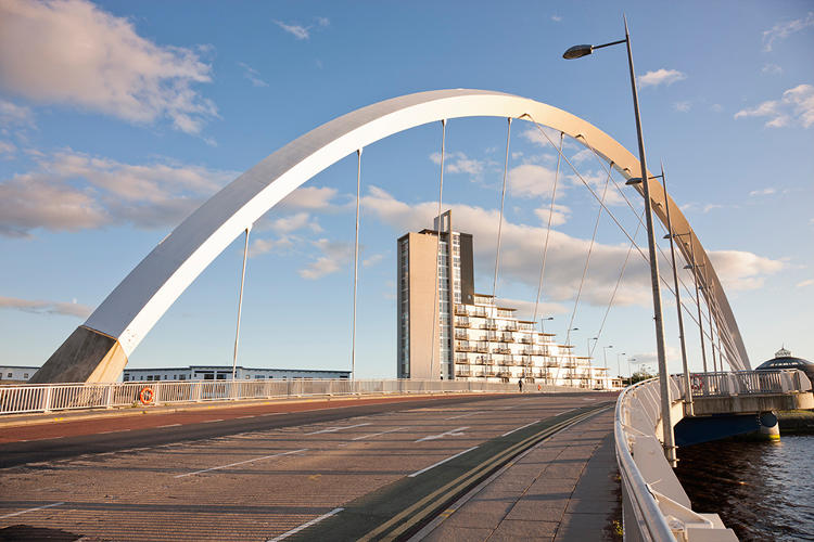 <p>Clyde Arc (also known as the Squinty Bridge), Glasgow, Scotland, designed by the Halcrow Group, opened in 2006</p>