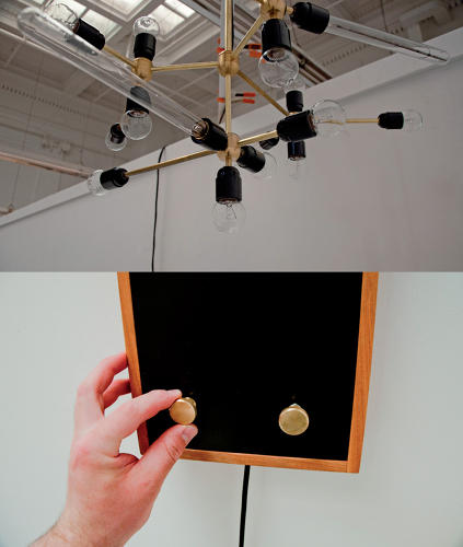 <p>Brooklyn-based designer Brandan Keim's Dim(Some) Chandelier incorporates Arduino open-source software and hardware which lets you control the intensity of each bulb with dimmer knobs.</p>