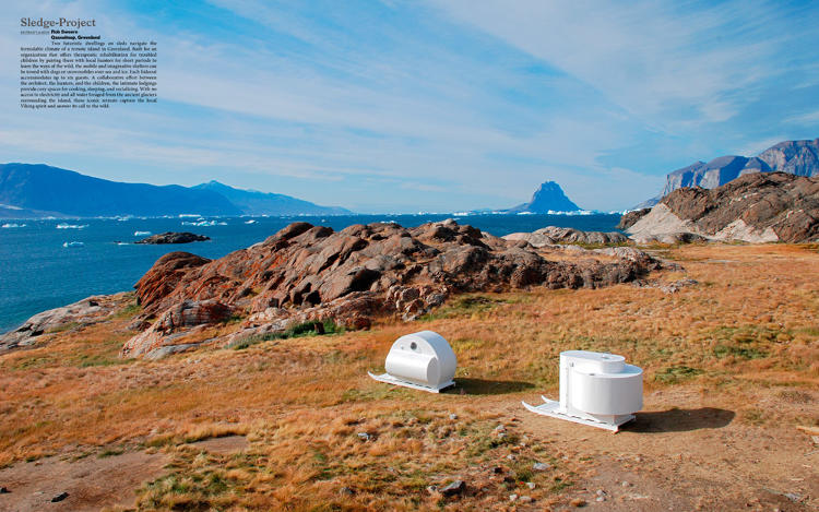 <p>These futuristic mobile dwellings on sleds on a remote Greenland island were built for an organization that helps rehabilitate troubled children by pairing them with local hunters, who teach them the ways of the wild.</p>