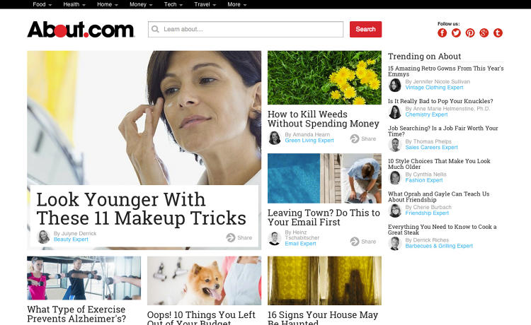 <p>Beginning in July, About.com began to roll out redesigned Home, Food, Money, Technology, and Travel channels. The company says the time its visitors spend on the site has since increased by 12% and pageviews have increased by 10%. This is the new beauty channel homepage.</p>