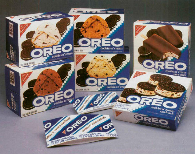 <p>There's some debate as to who invented Cookies &amp; Cream ice cream and when (it appears to have been in the late 1970s), but Oreo soon takes advantage by officially licensing its brand and its cookies for ice cream. Today, Breyer's, Good Humor, and Klondike have licenses.</p>