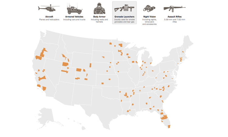 <p><strong><a href=&quot;http://www.fastcodesign.com/3034667/infographic-of-the-day/how-many-assault-rifles-did-your-local-police-get-from-the-military&quot; target=&quot;_self&quot;>How Many Assault Rifles Did Your Local Police Get From The Military?</a></strong></p>  <p>After protests of unarmed teenager Michael Brown's shooting by police officer Darren Wilson, the media was flooded with images of Ferguson, Mo., cops outfitted in camouflage and gas masks, heavily armed and standing in front of armored vehicles. It was a reminder of a disturbing truth: the majority of local police departments in U.S. counties across the country are provided with the military's surplus <a href=&quot;http://www.fastcodesign.com/3034902/evidence/if-cops-understood-crowd-psychology-theyd-tone-down-the-riot-gear&quot; target=&quot;_self&quot;>war gear</a>. The <em>New York Times</em> received Pentagon data on all the military transfers of equipment since 2006, and mapped where their 1033 Program is sending this extra gear. This interactive map shows the number of planes, helicopters, armored vehicles, body armor, grenade launchers, night vision accessories, and assault rifles transferred to local and state agencies in each county. Explore the map for yourself over at the <em><a href=&quot;http://www.nytimes.com/2014/08/20/upshot/data-on-transfer-of-military-gear-to-police-departments.html&quot; target=&quot;_blank&quot;>New York Times.</a></em></p>