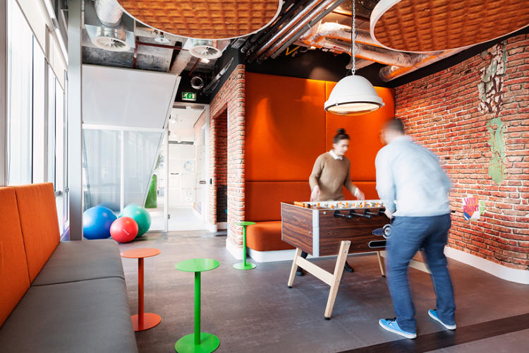 <p><strong>Going Dutch</strong></p>  <p>Google's Amsterdam digs, designed by local studio <a href=&quot;http://www.ddock.nl/&quot; target=&quot;_blank&quot;>D/DOCK</a>, are perfectly crafted for a Netherlands outpost of the web giant. Stroopwafel ceiling tiles, meeting rooms carved out of 1960s caravans, and neon signs lend the offices an<a href=&quot;http://www.fastcodesign.com/3028061/googles-new-amsterdam-offices-are-extremely-dutch&quot; target=&quot;_self&quot;>undeniably Dutch</a> touch of whimsy.</p>