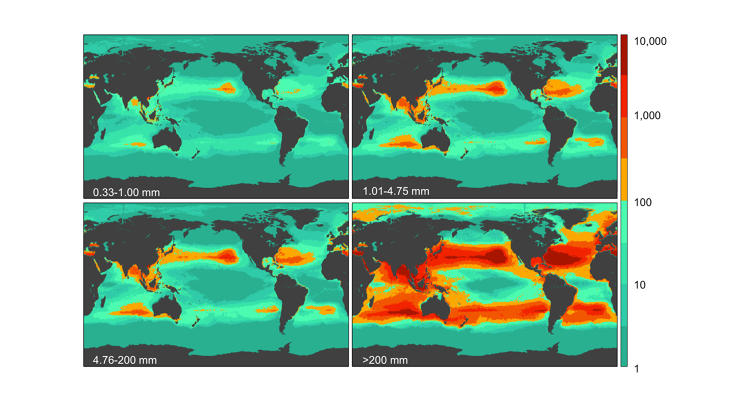 <p>All of that plastic weighs 268,940 metric tons in all. This map shows the weight density.</p>