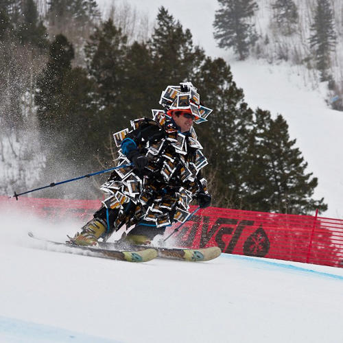 <p>Levin on the slopes in the Jerk Man suit.</p>