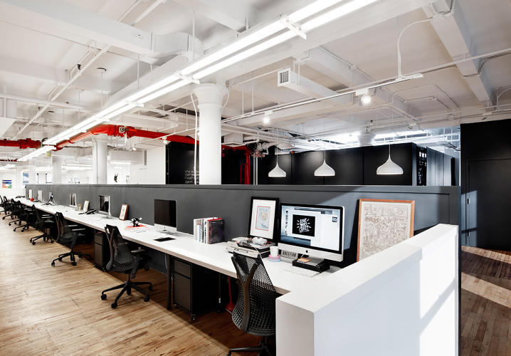 Here is an open office any employee would love fast for Interior design companies in usa
