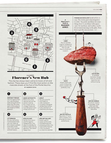 <p>A short spread about eating in Buenos Aires is a whimsically illustrated infographic centered around a piece of raw steak, skewered on the tines of a fork.</p>