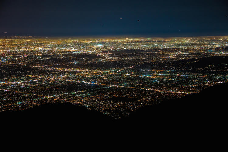 <p>Light pollution (SKYGLOW) over downtown Los Angeles. Taken from Mount Wilson Observatory 2015.</p>