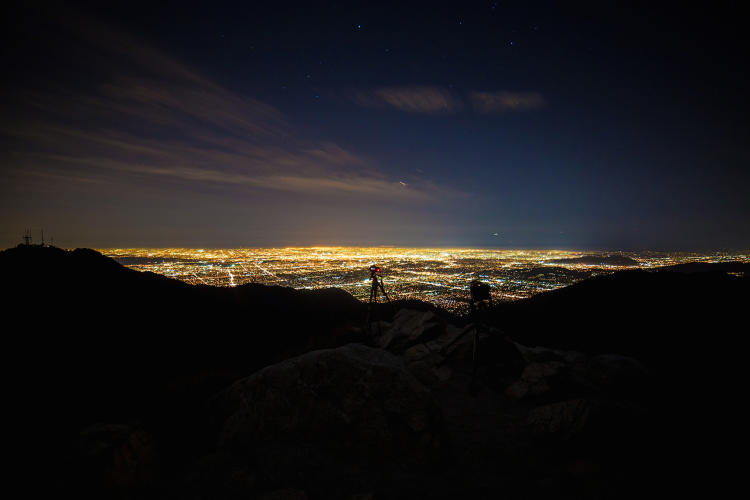<p>Two timelapse cameras capturing light pollution (SKYGLOW) over downtown Los Angeles. Taken from Mount Wilson, Ca 2015.</p>