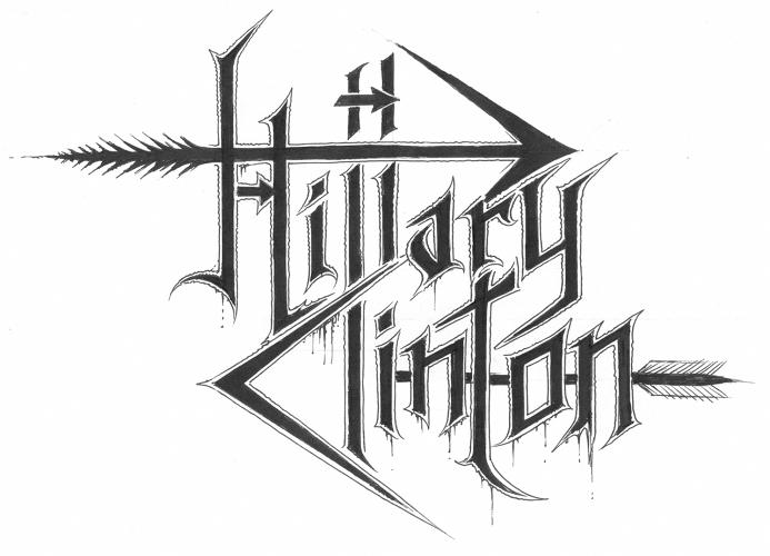 <p>In Szpajdel's design, Hillary Clinton's bizarre 'H' inspires a new logo in which razor sharp arrows pierce her name from both the left <em>and</em> the right. Meanwhile, the 'H' itself almost serves as a sort of daemonic glyph, the kind of thing you might find scratched on the basement walls at the end of the <em>Blair Witch Project</em>]</p>