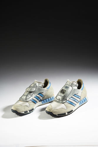<p>This Micro Pacer from Adidas, followed two years later by Puma's RS Computer Shoe, anticipated wearable technologies and reflected the impact of geek culture on sneaker design.</p>  <p>Collection of the Bata Shoe Museum</p>