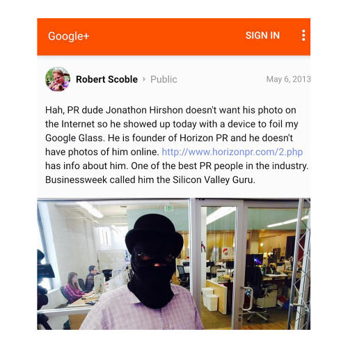 <p>Not even tech author Robert Scoble's Google Glass could capture an image of Jonathan Hirschon.</p>