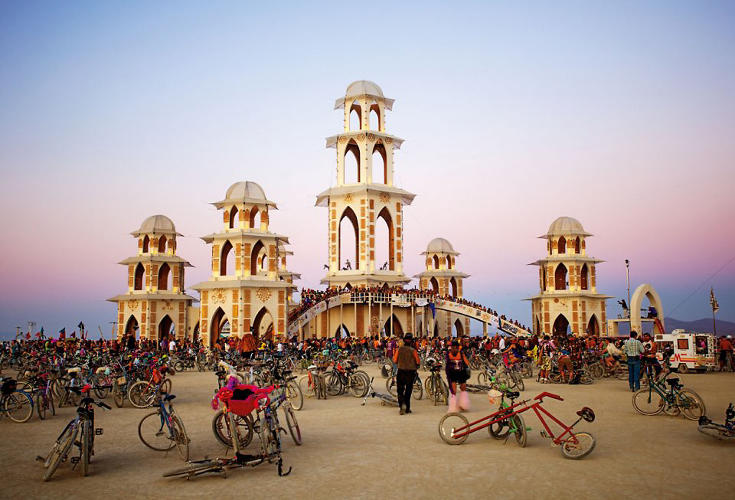 <p>Artists: David Best and the Temple Crew <br /> The structure is believed to have been the largest wooden structure, without a foundation, ever built. The Burning Man temples are memorial sites for remembrance and mourning, and are burned at the conclusion of the event.</p>
