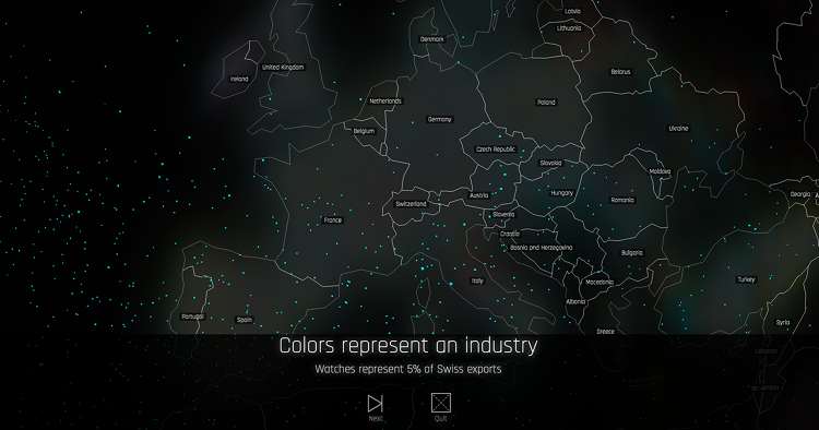 <p>The density of dots corresponds to more exports.</p>