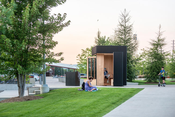<p>Located in Newmarket, Ontario, the Story Pod uses design and books as a placemaking intervention.</p>