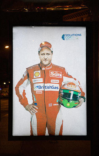 <p>Other billboards feature some of the world leaders who are in Paris for the conference, like David Cameron in a Formula One suit covered with fossil fuel company logos.</p>