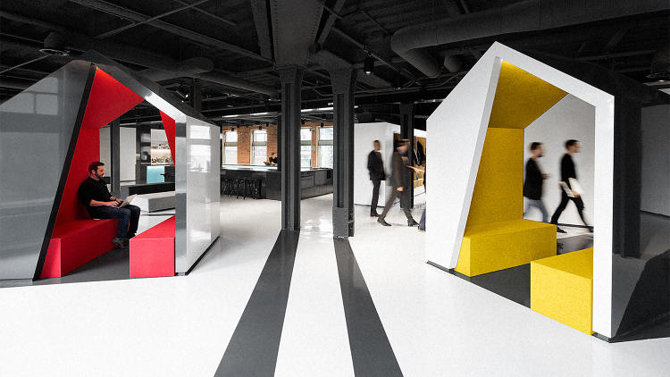 <p><strong><a href=&quot;http://www.fastcodesign.com/3054147/the-most-beautiful-tech-office-of-the-year&quot; target=&quot;_self&quot;>Lightspeed's Montreal Headquarters by ACDF Architecture</a></strong><br /> The jawdropping office looks like someone smashed a graphic design book into an old train station. The concept mixes punchy graphics, whimsical features, and an historic framework to forge a minimalist office that feels sophisticated, not overwrought.</p>