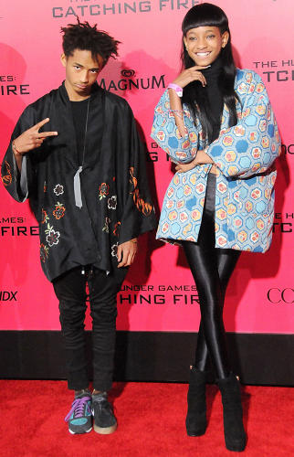 <p>Jaden Smith and sister Willow Smith at the Los Angeles premiere of 'The Hunger Games: Catching Fire' in November 2013.</p>