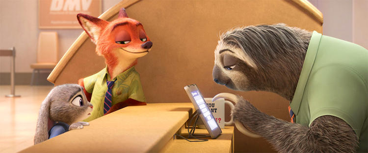 <p>Nick, Judy, and Flash from <em>Zootopia</em>, 2016</p>