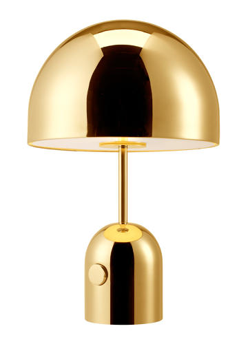 <p>Lately, Dixon has been working with polished metals, like the brass <a href=&quot;http://www.tomdixon.net/us/bell-table-light-chrome-eu.html&quot; target=&quot;_blank&quot;>Bell table light</a>.</p>