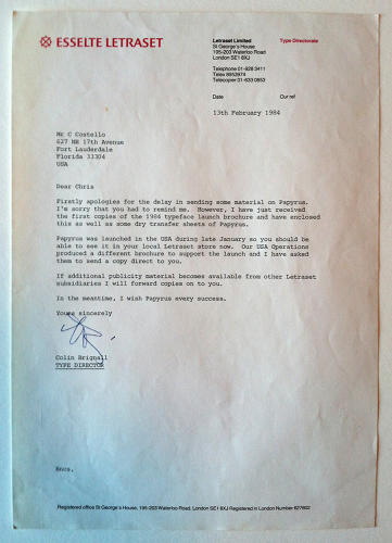 <p>A letter from renowned British type designer, Colin Brignall wishing Papyrus &quot;every success&quot;.</p>
