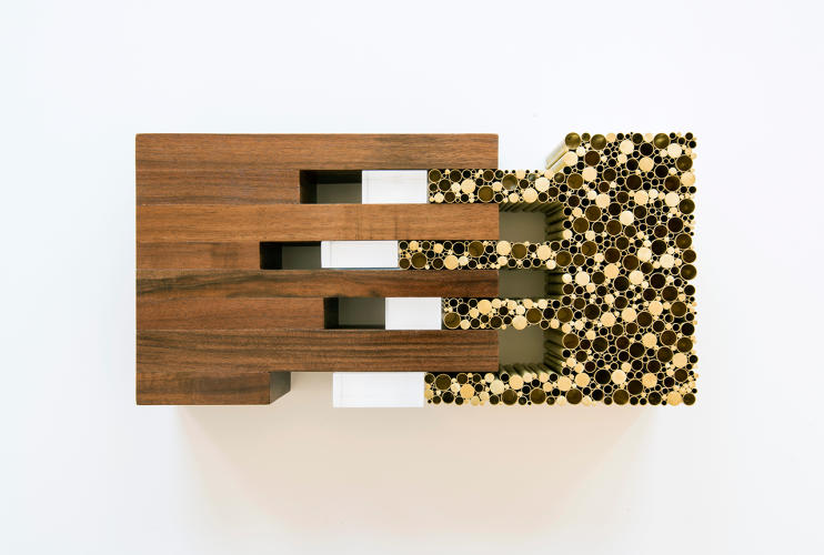 <p>This conceptual model for a museum in New York is composed of brass rods and tubes, black walnut, and acrylic.</p>