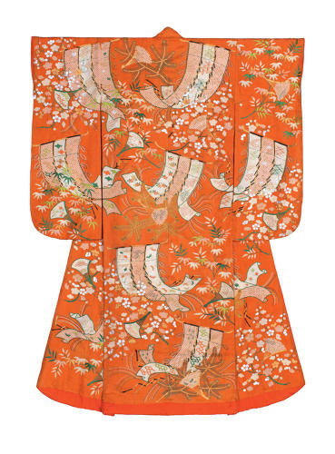 <p>Kimono for a young woman (furisode). Decorative partitions, fans, pine, bamboo and plum.<br /> Figured sating silk (rinzu); tie-dyeing (shibori) and embroidery in silk and metallic 			threads. <br /> Edo period, 1800–40. 171.0 x 124.5 cm, KX229</p>