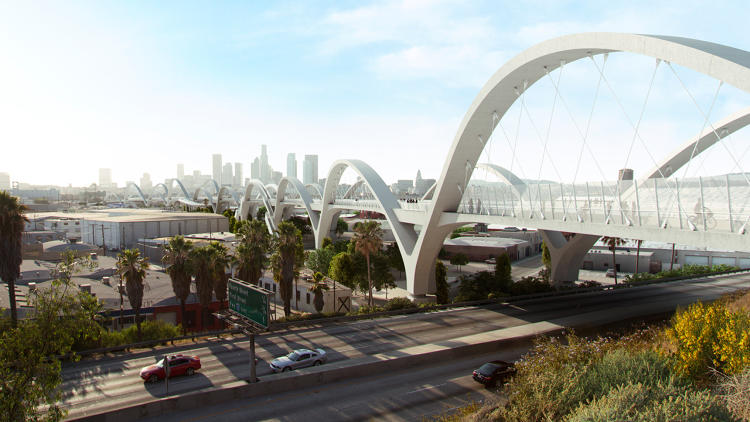<p>A rendering of the new Ribbon of Light Bridge, designed by architect Michael Maltzan. Construction is scheduled for completion in 2019.</p>