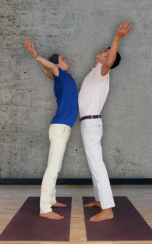 <p><strong>Chest Bump Moon</strong>:</p>  <p>Turn to this pose when the emotions you can't express overwhelm you. It is best done with a partner. Facing your partner, reach your arms to sky, back bend slightly, and bump your chest against his saying, &quot;No homo&quot; as you do.</p>