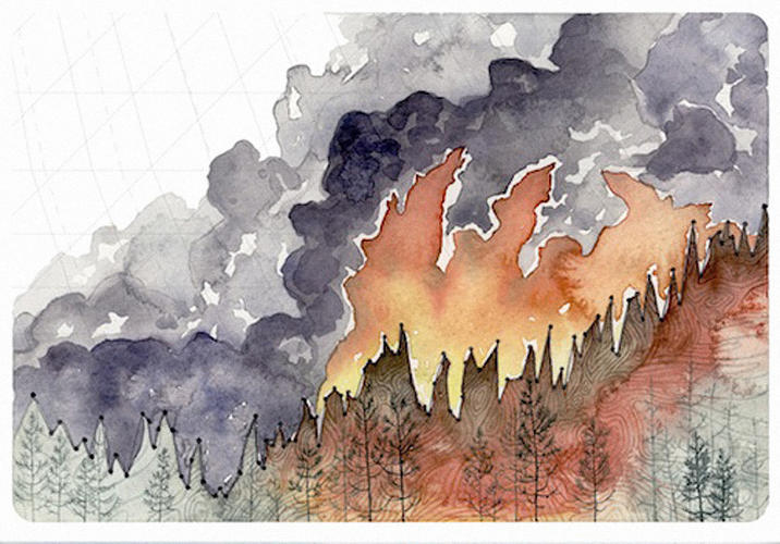 <p>In this picture of wildfires gulping up a forest, the line marking the top of the trees is also a graph plotting the global average temperature.</p>
