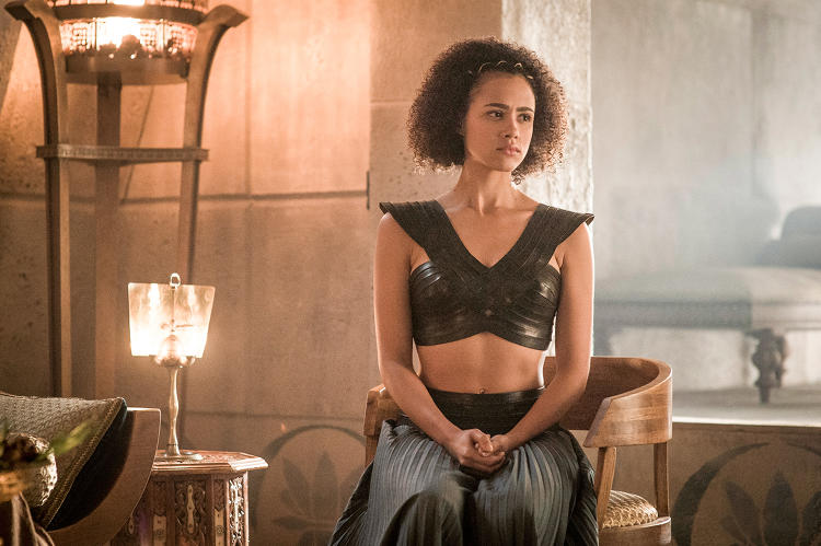 <p>Nathalie Emmanuel returns as Missandei, confidante to Daenerys Targaryen.</p>
