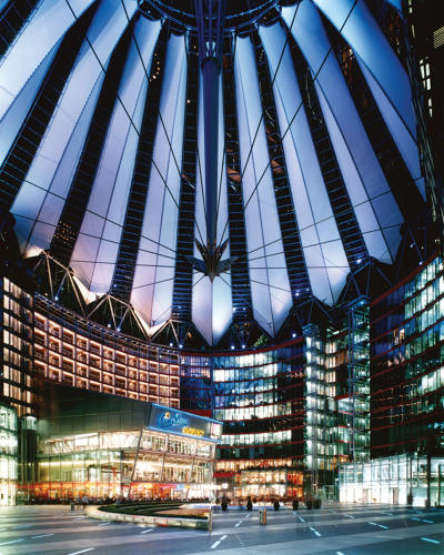<p>Helmut Jahn's Sony Center in Berlin, with a tensile roof structure made out of PTFE</p>
