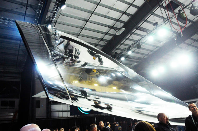 <p>The chrome feather--or tail--of the new SpaceShipTwo.</p>