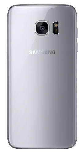 <p>Samsung Galaxy S7 edge in silver titanium (rear view).</p>