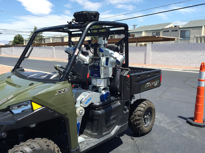 <p>The HUBO robot gets ready for a drive at the University of Las Vegas, Nevada.</p>