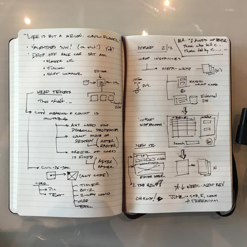 <p>Inside Rolston's notebook</p>