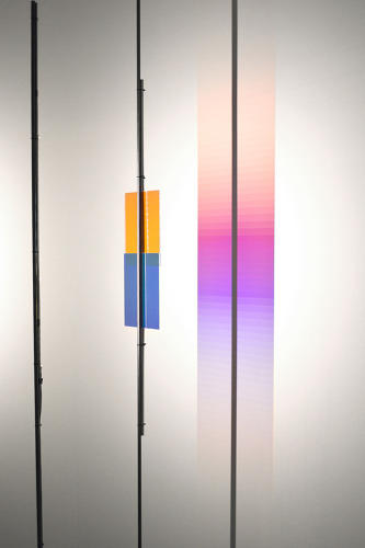 <p><em>Colour - Test 3</em>, detail of the colour effect, 2016 <br /> LED, dichroic glasses, concrete, polycarbonate lens, electrical materials, rubber, pencil</p>