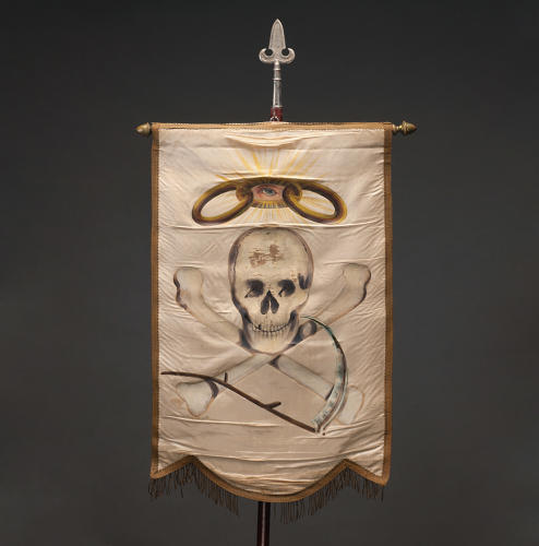 <p>Odd Fellows initiatory degree banner, 1880s, unknown maker, oil paint on silk, 28 inches by 18 inches, Webb Collection</p>