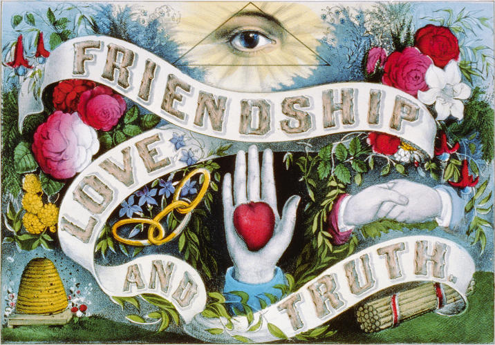 <p><em>Friendship, Love and Truth</em>, 1874, Currier &amp; Ives, New York, hand-colored lithograph, Library of Congress Prints and Photographs Division</p>