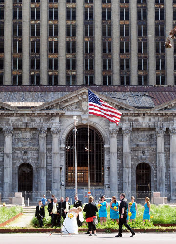 <p>Wedding Party, Michigan Central Station, 2013</p>
