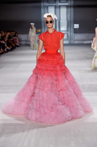 <p>Giambattista Valli (Italian, active in France, b. 1966); Skirt and top, from Fall / Winter 2014–15 Couture collection, 2014; Tulle degradé, silk taffeta</p>