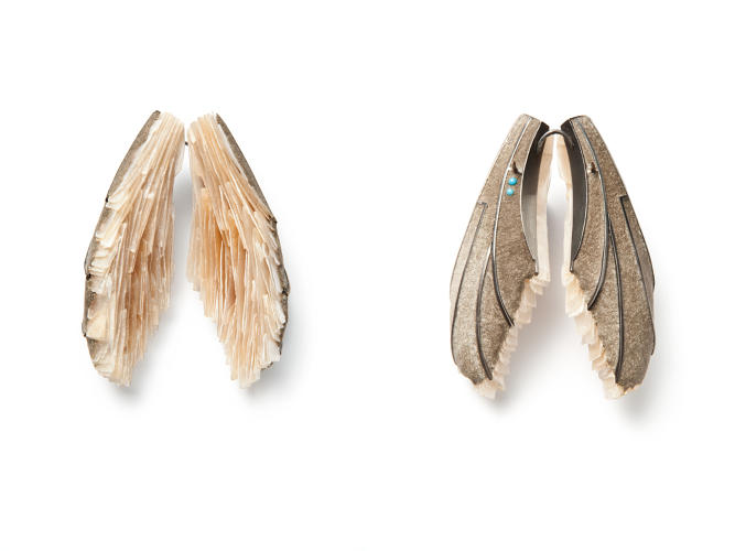 <p>Terhi Tolvanen (Finnish, active in France, b. 1968); Wings brooch (back and front), from Curiosity Collection, 2013; Mother-of-pearl, cement, silver, wood; 8 × 6 × 3 cm (3⅛ × 2⅜ × 11 3⁄16 in.);</p>