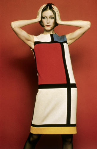 <p>A Mondrian dress in wool characterized by blue, red, and yellow color fields divided by bold black lines. From Yves Saint Laurent's 1965 fall/winter collection.</p>