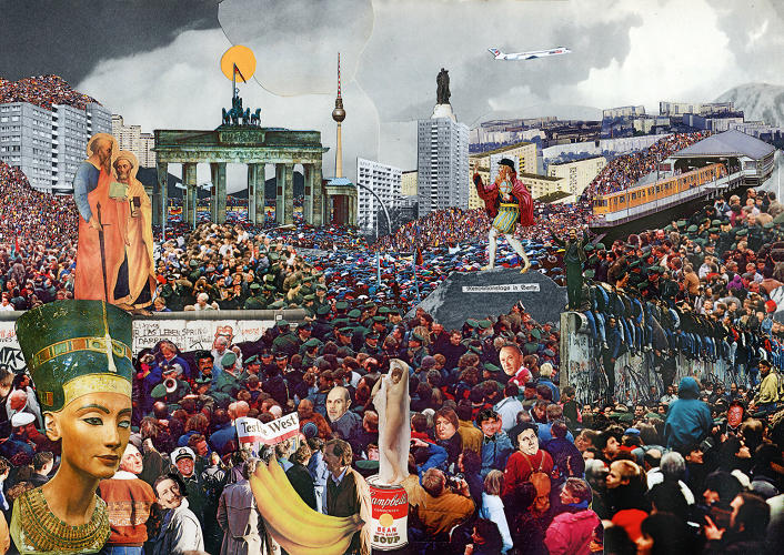 <p>Tim Roeloffs. Nov. 9th, 1988: Berliners celebrate the fall of the wall. Collage. Circa 2005</p>