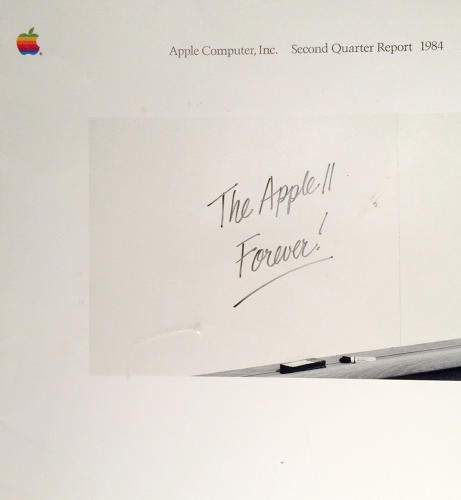 <p>A copy of Apple's second-quarter 1984 quarterly report. Everything changed for Apple in 1984, the year the company introduced the Macintosh.</p>