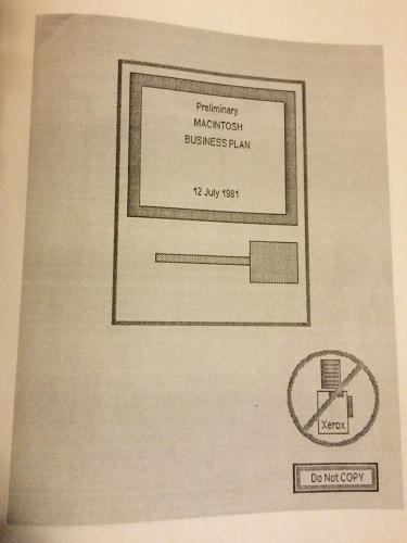 <p>The front cover of a copy of the original Macintosh business plan.</p>