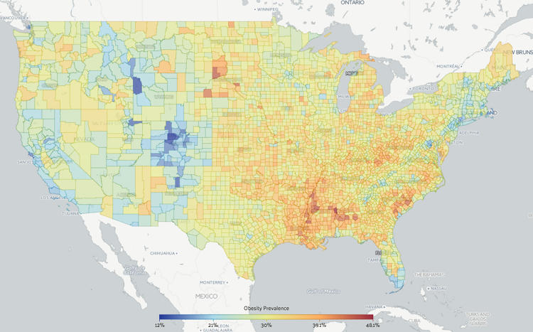 <p>Where are obesity rates the highest?</p>