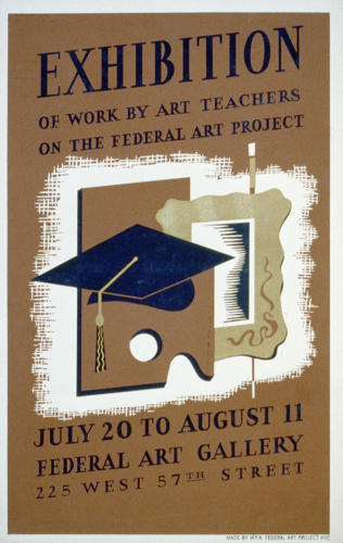 <p>Exhibition of work by art teachers on the Federal Art Project, 1938.</p>